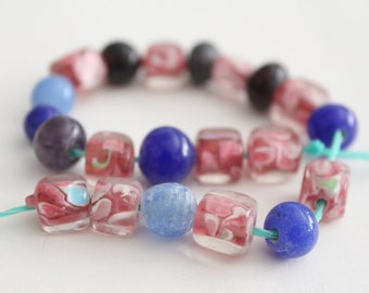 Lampwork glass mixed round cube beads 8-10mm (21)