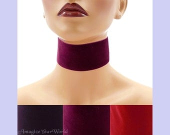 "Extra Wide 2-inch Red or Purple Velvet Choker Custom made Your Length and Color shade (approximate width 2 inches; 50 - 51 mm; 2"") Burgundy"
