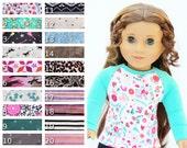 Fits like American Girl Doll Clothes - The Baseball Raglan Tee, You Choose Colors and Sleeve Length