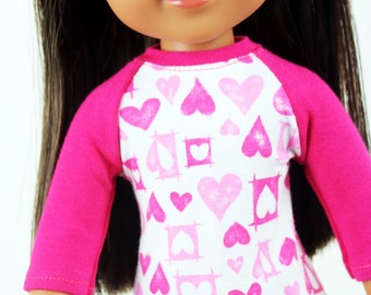 Fits like Wellie Wishers Doll Clothes - Hot Pink Valentine's Day Baseball Tee