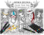 SALE Fantasy Art Digital Download Bookmark Set #1 Coloring Page Myka Jelina Fairy Art