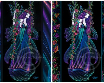 Iris ACEO Bohemain Fairy Swing Mini Art Trading Card Flower Child Limited Edition Canvas Celestial Nebula Star