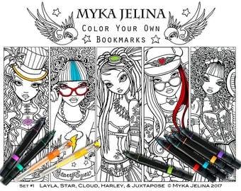 Fantasy Art Digital Download Bookmark Set #1 Coloring Page Myka Jelina Fairy Art