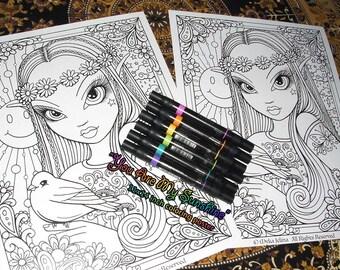 You Are My Sunshine Retro Hippie Coloring Poster 11x14 inch Myka Jelina Art Flower Child Fairy
