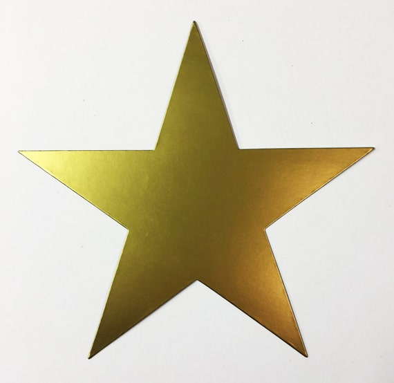 Giant Star Brass Matte Gold Metallic Cardstock Die Cuts - 7-3/4 Inch - 10 Stars - Scrapbook Party Decoration Paper Art Craft Mixed Media