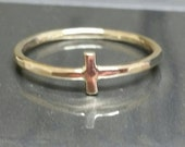 Mens / Women's Cross Ring,  Large Gold Ring, Size 10 Ring, Rustic Gold Ring, Cross Ring, Hammered Faith Ring,  by Maggie McMane Designs