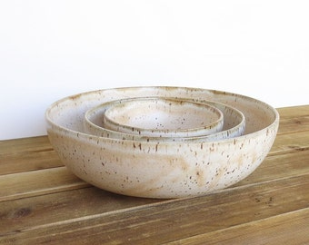 Stoneware Pottery Nesting Bowl Set in Satin Oatmeal Glaze - Set of 3
