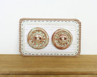Stoneware Ceramic Buttons - textured, pistachio shino glaze, rustic, handmade - Set of 2