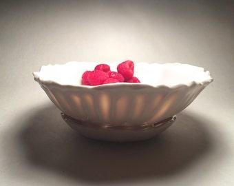 Porcelain Berry Bowl and Saucer Handmade Fluted