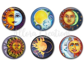 Sun and Moon Magnets, Fridge Magnets,  M017