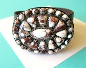 RESERVED..Navajo Wild Horse Magnesite Sterling and Leather Concho Wrap Bracelet