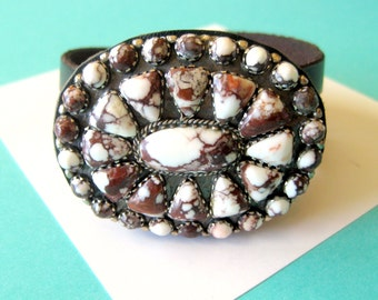 SALE..Navajo Wild Horse Magnesite Sterling and Leather Concho Wrap Bracelet