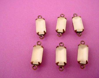 6 Vintage Glass Frosted domed  Crystal Octagon connector Charms 10x5 santique brass ox setting 2 loops