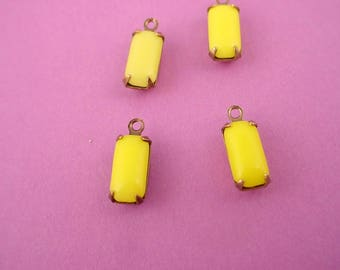 Vintage Yellow Lime Glass Octagon Drop Charms 10x5 antiqued Brass  ox 1 Ring Closed Backs  - 6 Pieces