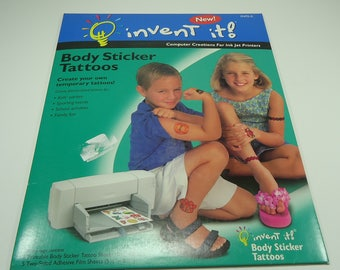 Body Sticker Temporary Tattoo Kit - Create Your Own Temporary Tattoo.  Computer Creations For Ink Jet Printers, Kids, Schools, Sports