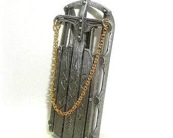 Sled Sleigh  JJ Jonette vintage pin brooch pewter Christmas NOS