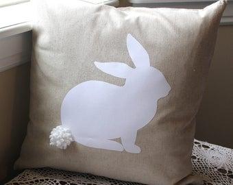 Bunny Pillow COVER, Bunny Easter Pillow, Sofa Pillow, Natural Pillow, Country Pillow Cover