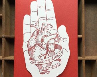 letterpress heart LOVE hand shaped card