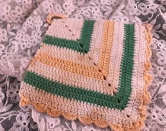 Vintage Hand Crochet Yellow, Green and White Potholder
