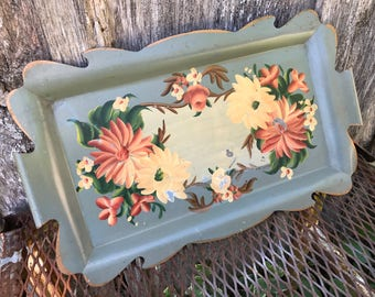 Vintage Tolware Floral Metal Serving Tray