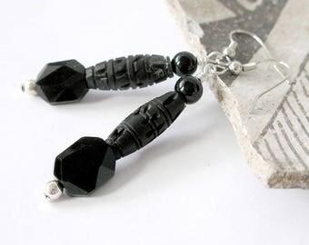 Black Earrings Wearable Art Budget Artisan Jewelry Little Black Dress With Silver