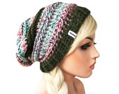 Couture Slouch Boho Beanie with ribbed brim ONE OF A KIND Will not be re listed
