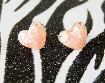 Light Pink Heart Earrings, Pastel Resin Studs, Pale Pink Glitter Kawaii Earrings