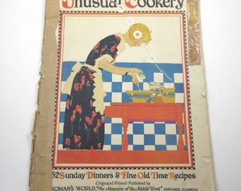 The Book of Unusual Cookery Vintage 1920s Woman's World Magazine for 1927 with Recipes