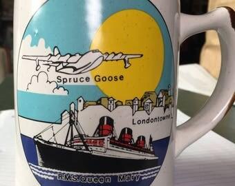 Queen Mary Spruce Goose Mug/Cup - mug - cup - Queen Mary - Spruce Goose - Long Beach - California - ship - ocean liner - Howard Hughes