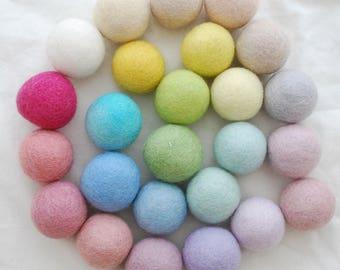 100% Wool Felt Balls - approx 4cm - 25 Count - Assorted Light, Pale & Pastel Colours