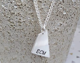 Men's Sterling Silver Personalised Geometric Necklace, Shard Shaped Necklace, Father's Day, Personalized Name/Initials Pendant, New Dad
