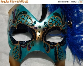 Halloween Mask, Teal Sequin Masquerade Mask, Blue Feather, Halloween Party Mask, New Years Eve