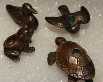Vintage Birthday Candle Holders Silver Birthday Cake Candles Bird, Frog, Duck, Turtle, Circa 1970's, Silver Animal Cake Toppers