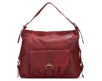 Leather Handbag, Purse Pocket Tote Bag, Red