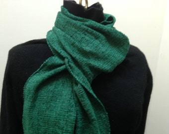 Handwoven scarf in dark green rayon chenille