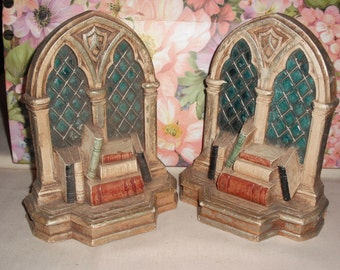Vintage Cathedral Window Bookends