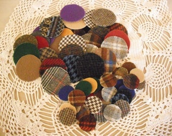 60 TWO sizes -Wool Pennies- Penny Rugs/ Candle Mats - Earth Tones- Plaids and Solids-Primitive Applique