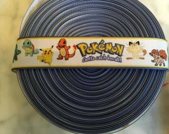 Pokemon Pikachu Ribbon - Printed Grosgrain Ribbon 1""