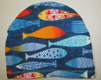 Colorful Fish Chemo Flannel SleepCap, Cancer Hat, Alopecia