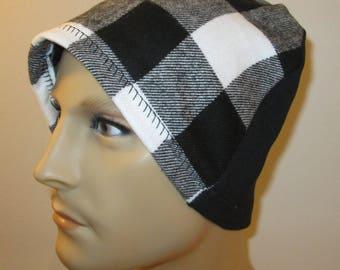 Mens Flannel Black White  Chemo Hat Sleep Cap Cancer Cap Keep Bald Heads Warm cj hats