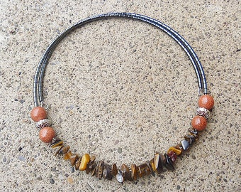 Memory Wire Tigers Eye Necklace   Womens  Handmade Jewelry