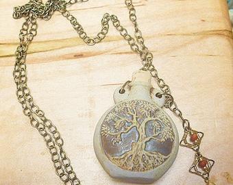 Tree of Life  Oil Bottle Pendant Necklace  Oil Bottle  Ashes Vessel  Urn  Oil Diffuser