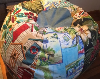NEW Tropical Multiple Beach Prints Bean Bag With Hawaiian Florals Cabana And Travel Postcard