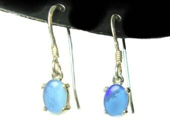 Opal triplet sterling silver french hook earrings