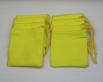 "Set of 12, 3"" x 3"" Solid Yellow Flannel Cotton Hoo Doo / Mojo Bags / Jewelry Pouches"