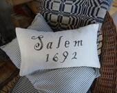 Olde Salem Village Cotton Pillow for Halloween or Primitive Display