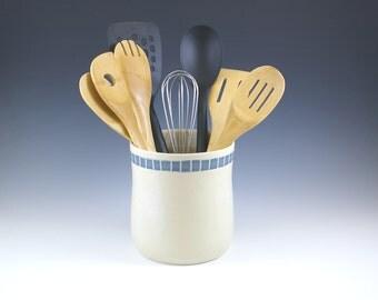 ONE Ceramic Pottery Utensil Holder, Shower Gift, Wedding Gift, Farmhouse Pottery Crock, Kitchen Gift,  Spoon Holder Jar,  Kitchen Storage