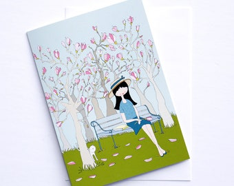 Greeting card - Les petites - Magnolias - cara carmina - dolls illustration - illustration - 5x7""