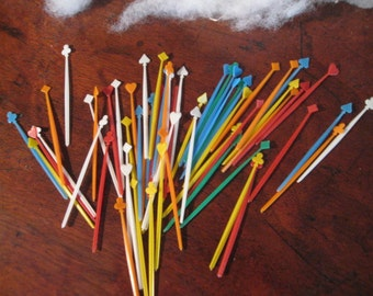 60 Colorful PLASTIC  Hors D'oeuvres TOOTHPICKS