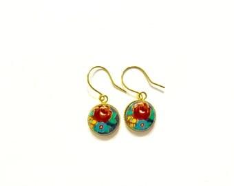 Red Rose Limoge Earrings, Red and Black Rose Earrings,Floral Jewelry, Vintage Earrings